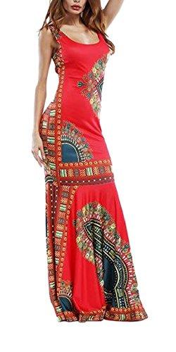 Jaycargogo Sexy Des Femmes De Manches Longues Imprimé Africain Robes Décontractées Rouge