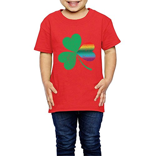 Hanfjj Kefdk Cute Rainbow Clover Short Sleeve T-Shirts Girl's Boy Toddler (2-6 Years) (Christophers Clover Red)