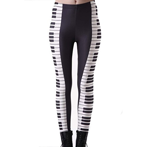 Women's 3D Black White Piano Printed Push Up Full Length Leggings Black