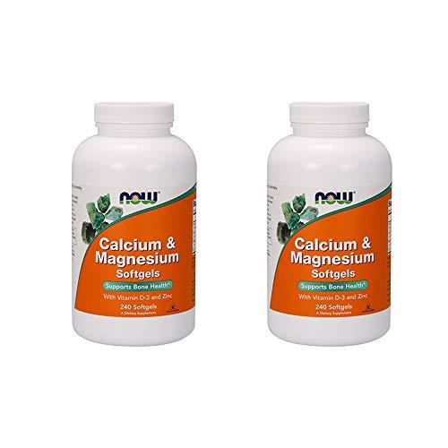 NOW Foods Calcium & Magnesium + Vitamin D Softgels, 240 ct (Quantity of 2)