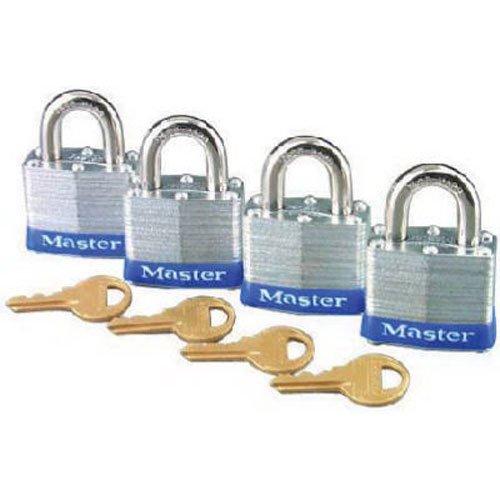 Master Lock 3008D Keyed-Alike Padlock, 3/4-inch Shackle, 1-9/16-inch Wide, 4-Pack