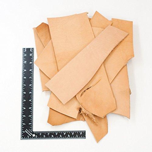 2 LB Leather Scrap Bags (Heavyweight Veg (Tan Tooled)