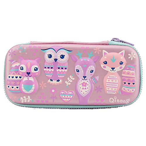 (Student Pencil Case Stationery Pouch with Zipper Owls Pattern 3D Embossed Design Rectangle Hardtop Pencil Case (Pink))