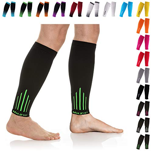 NEWZILL Compression Calf Sleeves (20-30mmHg) for Men & Women - Perfect Option to Our Compression Socks - for Running, Shin Splint, Medical, Travel, Nursing, Cycling (S/M, Green)