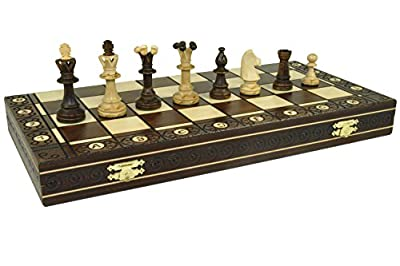 "CONSUL HANDCRAFTED TOURNAMENT WOODEN CHESS Board 19 x 19""- Chessmen Weighted"