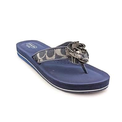 Coach Women's Jillian Signature C Denim Thong Sandals, Style A0087 (Denim) (6.5 M US Women)