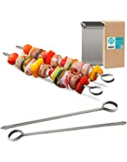 Stainless Steel Metal Round/Flat Skewers - Kabob Grilling Sticks, BBQ Mediterranean Mexican Cocktail Party, for Appetizers Shish Kebab Meat Fruits Vegetables Martini and Bloody Mary Garnish