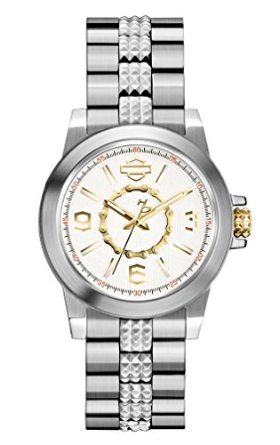 Harley-Davidson Womens Silver White Dial with Gold Gear Chain Inner Ring Watch ()