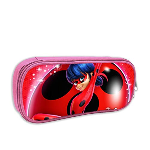 BOKAIKAI1306 Handsome M-Miraculous Ladybug Unisex Children Cartoon Stationery Box Zipper Canvas Pen Case Pencil Boys Girl Lovely Gift Cosmetic Bag