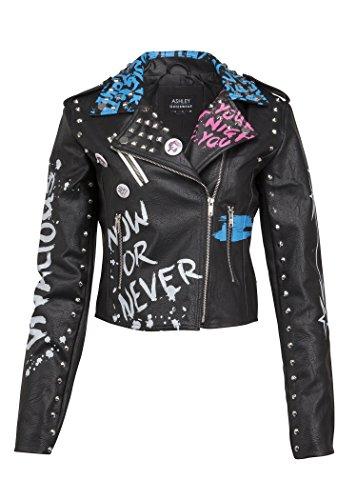 Glam and Gloria Womens Black Faux Leather Studded Graffiti Look Punk Biker Moto Jacket with Pins – Size X-Large - Biker Jacket Pin