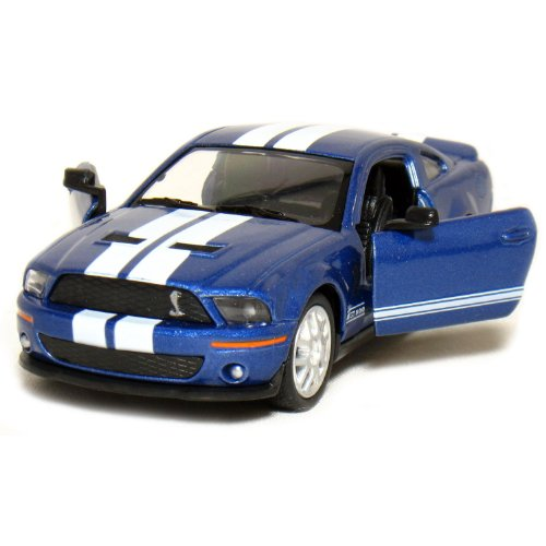 2007 Ford Shelby Gt500 (5 2007 Ford Shelby GT500 with Stripes 1:38 Scale (Blue) by Kinsmart)