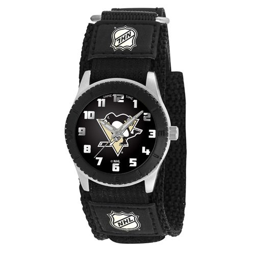 """Game Time Unisex NHL-ROB-PIT """"Rookie Black"""" Watch - Pittsburgh Penguins"""