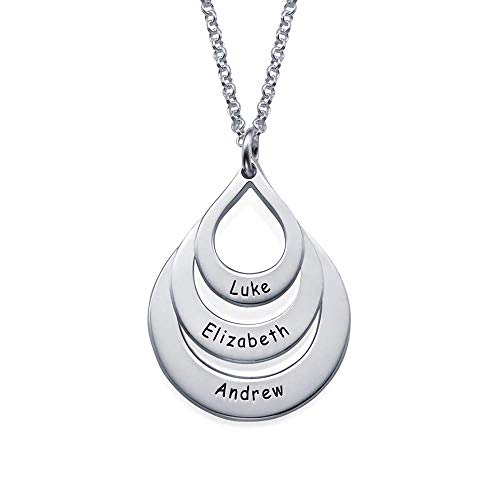 - Personalized Family Necklace Drop Sharp Mama Necklace with Custom Name On It for Women Push Presents for Wife
