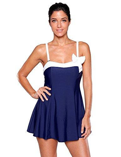 Lookbook Store Lookbookstore Women S Navy Blue Bow Swimdress Bandeau