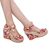 2019 Hot Women Thick Bottom Female Fish Mouth Sandals Summer Print Wedges Shoes Outdoor Casual Slippers (Red, 6)