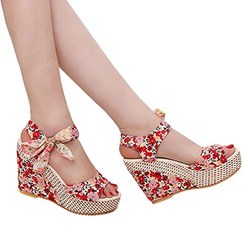 2019 Hot Women Thick Bottom Female Fish Mouth Sandals Summer Print Wedges Shoes Outdoor Casual Slippers (Red, 6) by Huaze (Image #1)