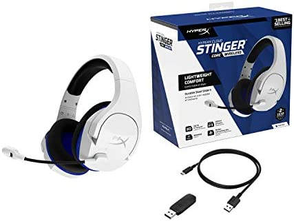 HyperX Cloud Stinger Core – Wireless Gaming Headset, for PS4, PC, Lightweight, Durable Steel Sliders, Noise-Cancelling Microphone, White (HHSS1C-KB-WT/G) 41N9HasuL3L