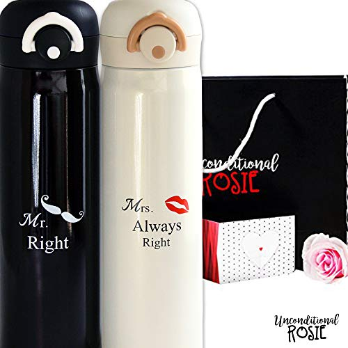 Wedding and Anniversary Gift by Unconditional Rosie - Set of 2 Matching Stainless Steel Flasks. This Thermo Set Comes in a Gift Box. Funny, Unique and Personalized Couples Gifts for Him and Her -