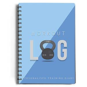 Workout Log Gym (Blue) – XL A5 Sized Training, Fitness and Gym Diary - Set Your Fitness Goals, Track 100 Workouts and Record Your Progress in Clear Detail
