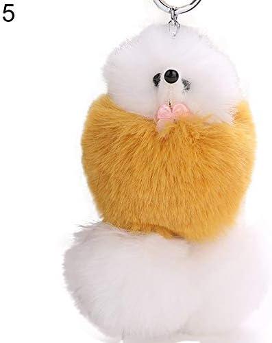 ポンポンキーホルダー、女性のためのかわいい犬の子犬の形の車のキーホルダー財布バッグペンダント
