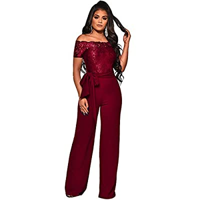 ECHOINE Womens Sexy Off Shoulder Jumpsuit Long Sleeve Bodycon Wide Leg Floral Lace Romper with Belt