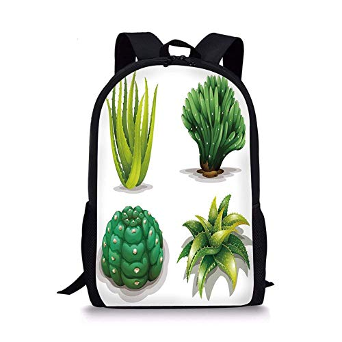 School Bags Succulent,Aloe Vera Plants Cacti Rejuvenating Healing Herbal Spiny Collection,Green Apple Green Brown for Boys&Girls Mens Sport Daypack