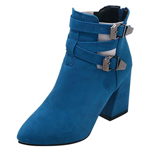 WOCACHI Boots for Womens, Women Fashion Warm Metal Super High Thick Heel Ankle Boots Point Toe Shoes Booties Slippers Oxford Loafer Flats Pumps Winter Spring 2019 Novelty Off -