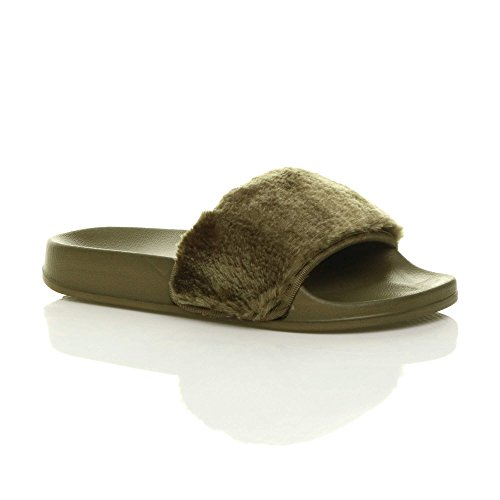 Ajvani Womens Ladies Flat Faux Fur Comfy Slip on flip Flop Sliders Slipper Sandals Size Khaki yw4dL4j5