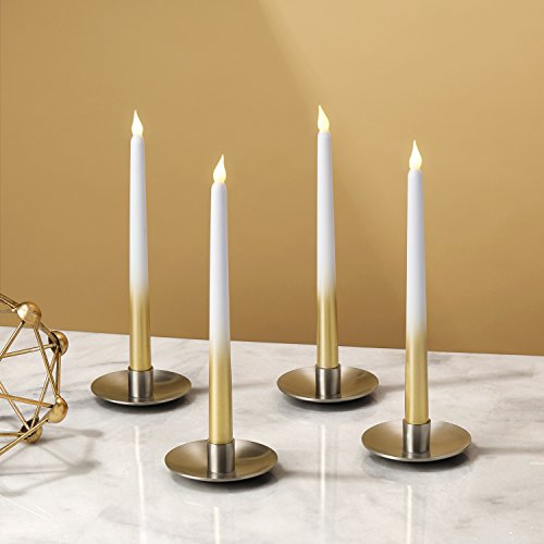 Gold Flameless Taper Candles - 4 Pack, 10 Inch Tall, Real Wax, Flickering Warm White LED Lights, Remote and Batteries Included