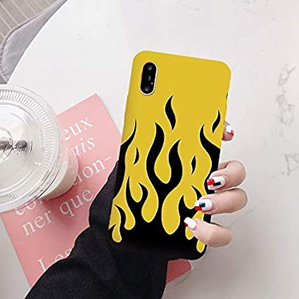 Ohne Markenzeichen Fashion Flame Pattern Phone Case 2020 Black Red Soft Silicone Back Cover Capa Color : Style 1, Material : For iphone XR