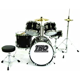 TKO TKO101B 5-Piece Complete Junior Drum Set, Black 5