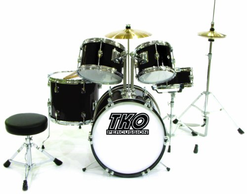 TKO TKO101B 5-Piece Complete Junior Drum Set, Black