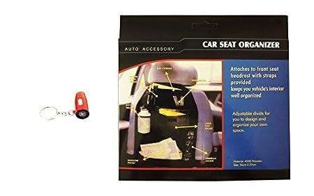 Best 2 Pack Auto Car Vehicle Back Seat Organizer Compass Key Chain Set Supplies Durable Nylon Beverage Umbrella Holders Top Essential for Men Him Dad Boyfriend Uncle Grandpa
