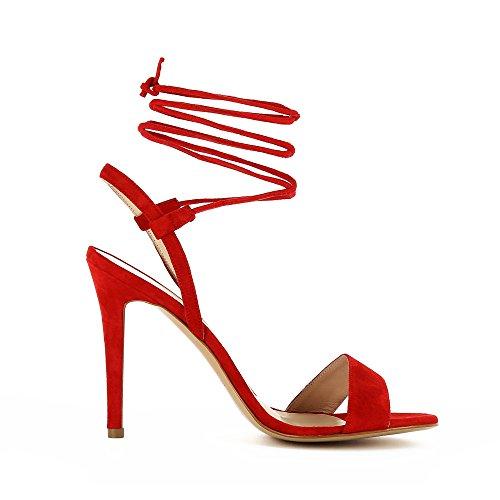 Evita mujer Rojo Eva Sandalias de Piel para de Shoes vestir 7RPw7r