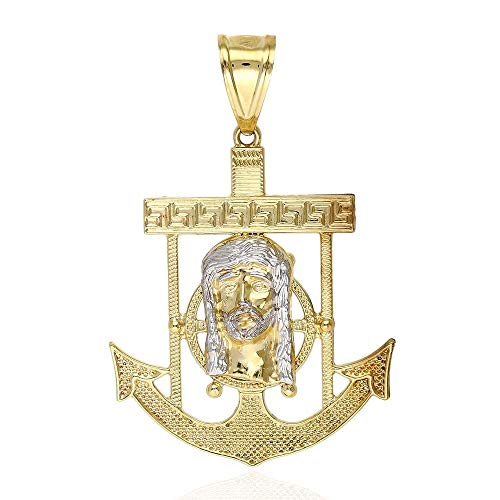 10K Solid Yellow Gold Two-Tone Diamond Cut Jesus Face Anchor Charm - Anchor Cut Charm Diamond