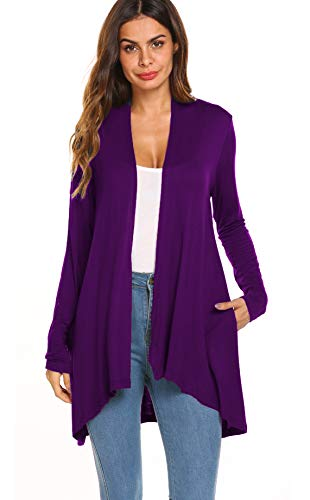 (Women's Casual Long sleeve Open Front Lightweight Drape Cardigans With Pockets (US XL(16-18), Purple) )