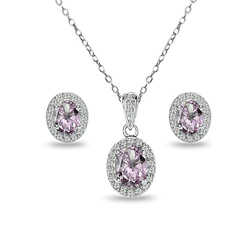 Sterling Silver Simulated Alexandrite and White Topaz Oval Halo Necklace and Stud Earrings Set (Wedding Alexandrite Set)