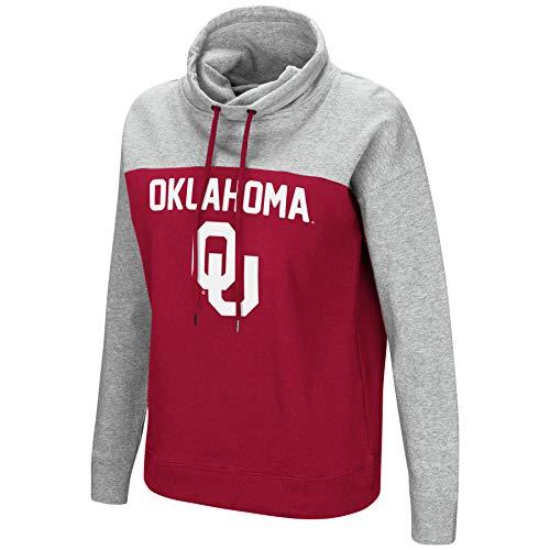 (Colosseum NCAA Women's-The Talk-Funnel Neck Pullover Sweatshirt-Oklahoma Sooners-Crimson-Small )