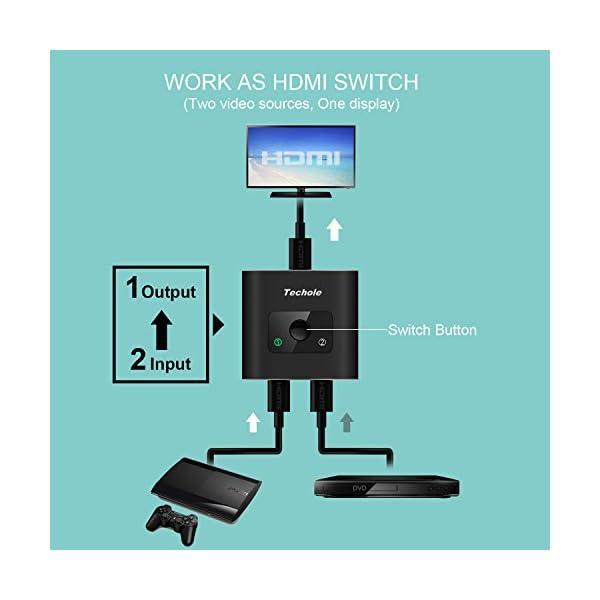 Techole HDMI Switch (Aggiornato), Alluminio Switch HDMI Bidirezionale 2 Ingressi 1 Uscita o 1 Ingresso 2 Uscite… 3 spesavip