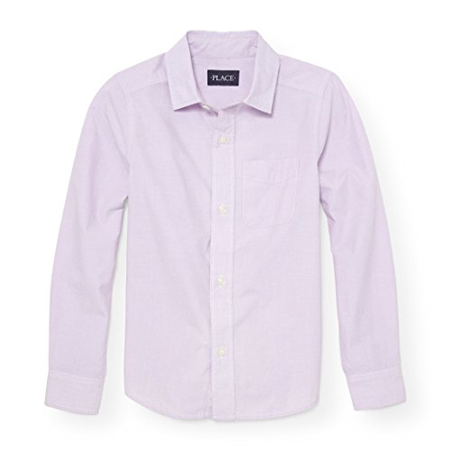 Boys Purple Dress Shirt - The Children's Place Big Boys' Long Sleeve Woven, Purple Opal 88256, M (7/8)