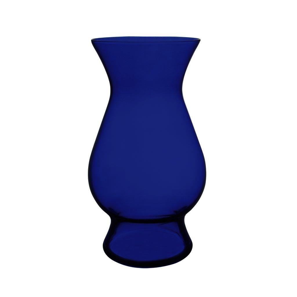 Floral Supply Online 8.75'' Cobalt Blue Decor Vase- Decorative Glass Flower Vase for floral arrangements, weddings, home decor or office.