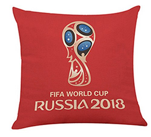 World Cup Throw Pillow Case Mascot Linen Cushion Covers Home Car Soccer Decor 2018 Russia Football Fans Cheerleading Gifts (red1)