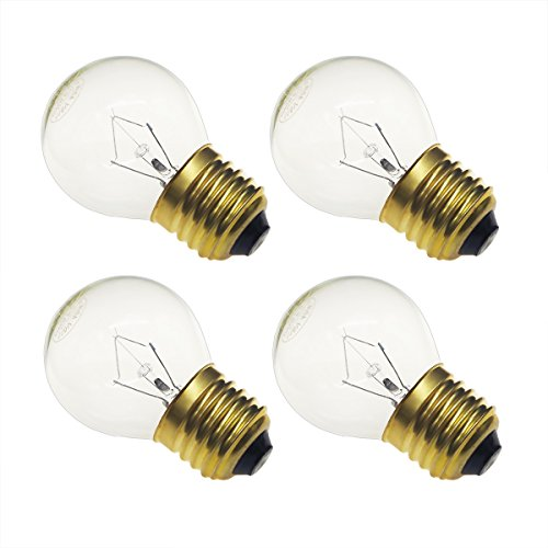 Jslinter 40 watt Appliance Oven Light Bulb - High Temp - 120v Clear - 415 Lumens - Medium Brass Base - G45 4-Pack