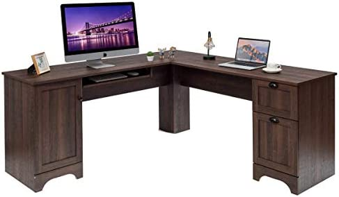 Tangkula 66.5 66.5 L-Shaped Desk