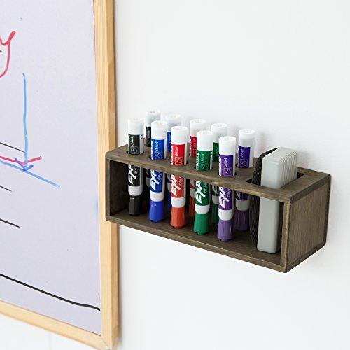 10 Slot Rustic Wood Wall Mounted Dry Erase Marker & Eraser Holder Storage Organizer, Brown by MyGift (Image #2)