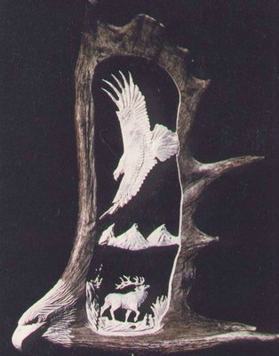 Moose Antler Carving, Eagle Watchful Eyes With Eagle Head Carving, 28 - 35