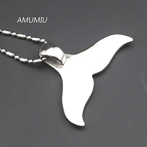 Davitu Lovely Whale Tail Pendant Stainless Steel Necklace Chain for Men Or Women Gifts Rock Biker Rider Jewelry HP071 Metal Color: Stainless Steel