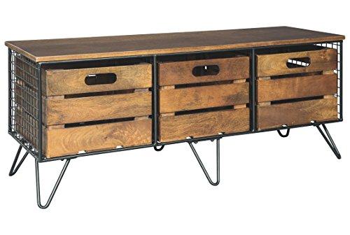Ashley Furniture Signature Design - Forestmin Storage Cabinet - 3 Removable Bins - Medium Brown Finish - Black Metal ()