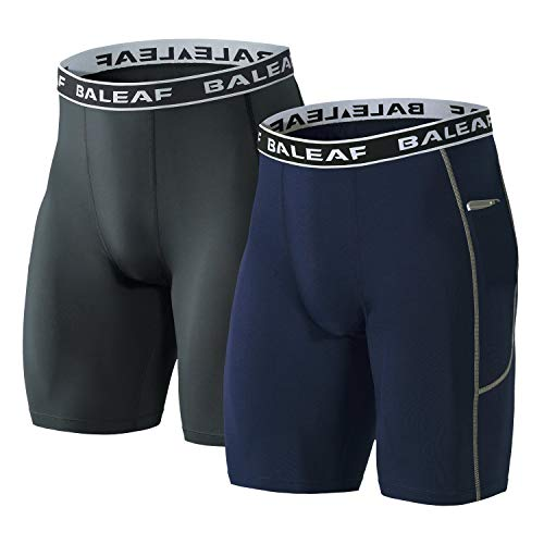 BALEAF Men's 9 Inches Compression Shorts Workout Sports Tights Side Pocketed Basketball Shorts 2 Pack Gray/Navy Size M (9 In Running Shorts)
