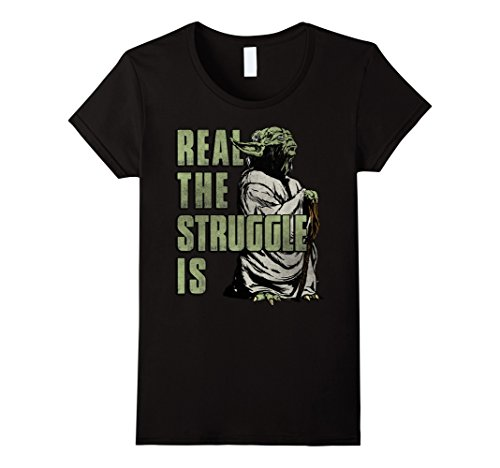 Womens Star Wars Yoda Real The Struggle Is Graphic T-Shirt Medium (Star Wars Shirts)